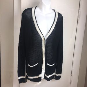 360 SWEATER Black and White Knit Cardigan-S